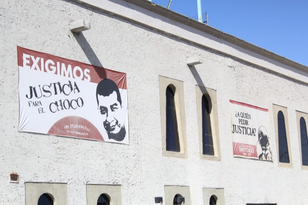 Banners on El Diario de Juarez's building remind the public of two journalists from the paper who were murdered. (Photo: Celeste González de Bustamante)